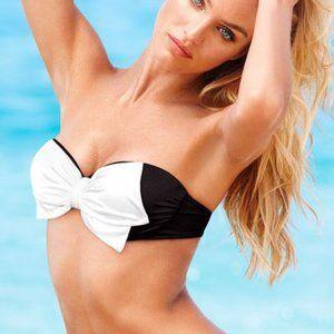 VICTORIA'S SECRET B&W Bow Strapless Bikini Top 34C